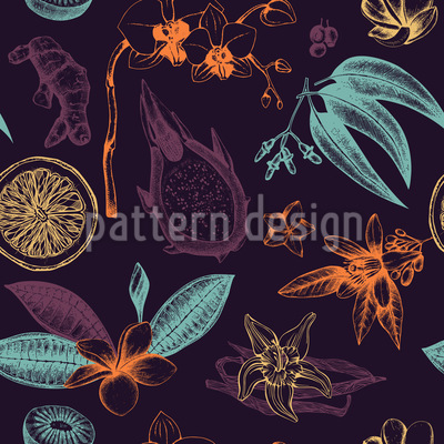 Exotic Plants Pattern Design