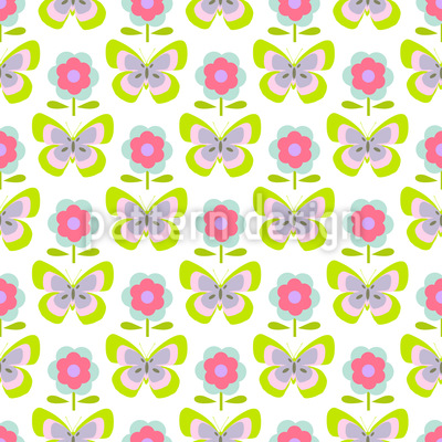 Retro Butterflies And Flowers Vector Ornament