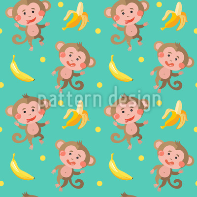 Lustige Affen mit Bananen Nahtloses Vektormuster