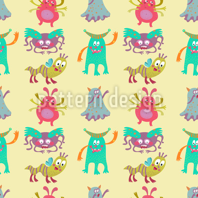 Funny Monsters Seamless Vector Pattern Design