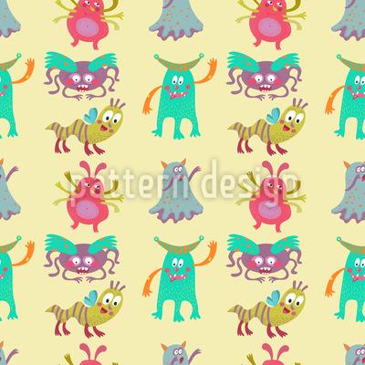 Monstros engraçados Design de padrão vetorial sem costura