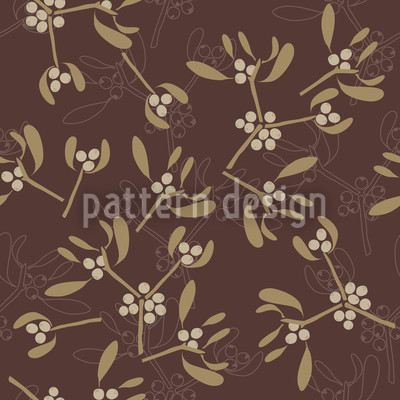 Mistletoe Brown Repeating Pattern