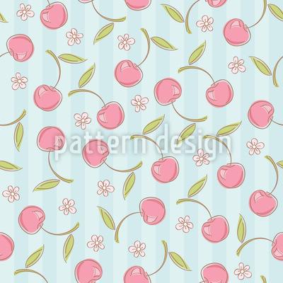 Kirsche Küsst Kirschblüte Nahtloses Vektor Muster