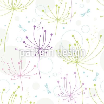 Blumen Und Libellen Rapportmuster