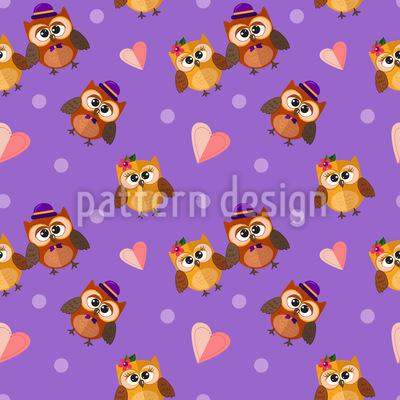 Owl Couples Vector Ornament