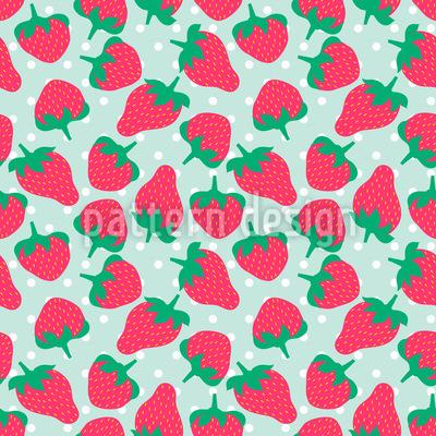 Erdbeeren Mit Zucker Nahtloses Vektormuster