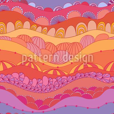 Wellen Und Muscheln Nahtloses Muster