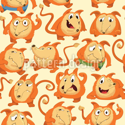 Fox Meeting Seamless Vector Pattern