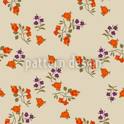 Mille Fleurs On Beige Vector Ornament