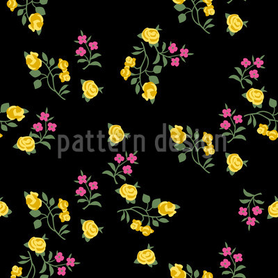 Scattered Flowers On Black Seamless Vector Pattern