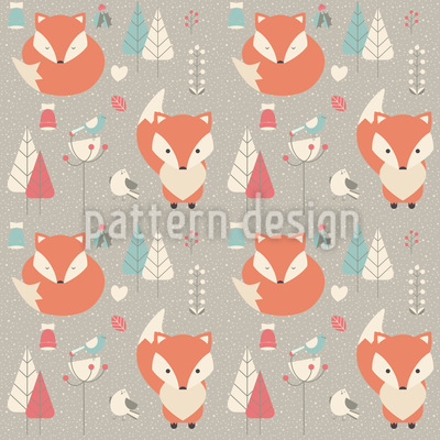 Baby Foxes Vector Pattern