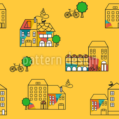 Sunny Town Seamless Vector Pattern Design