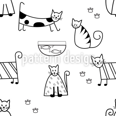 Funny Cats Seamless Vector Pattern Design