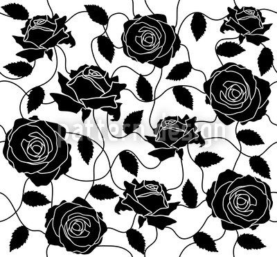 Briar Rose Black And White Seamless Vector Pattern Design