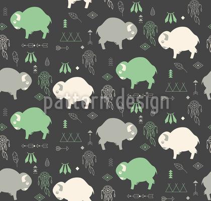Cute Baby Buffaloes Seamless Vector Pattern Design