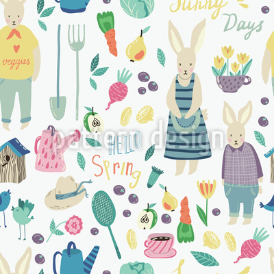Kaninchen Garten Nahtloses Vektormuster