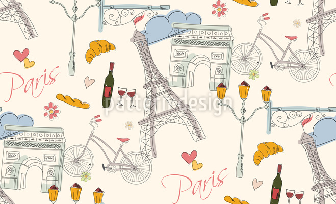 Paris Seamless Vector Pattern Design