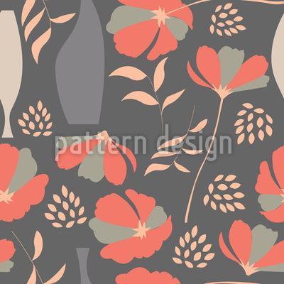 Mohnblumen Und Vasen Nahtloses Muster