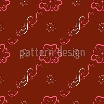 Curlicue Flower Ornaments Pattern Design