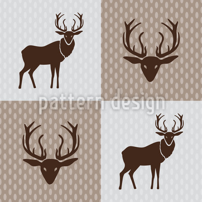 The Forest King Brown Seamless Vector Pattern Design