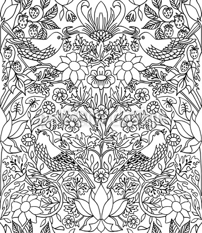 Bird In The Thicket Repeat Pattern