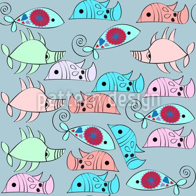 Fantasie Muntere Fische Nahtloses Muster