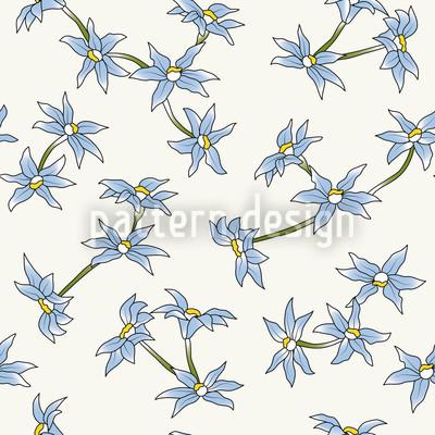 Blauer Blumenregen Designmuster