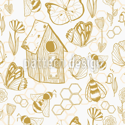 Honey Meadows Seamless Pattern