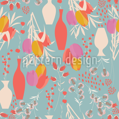 Flowers and Vases Seamless Vector Pattern
