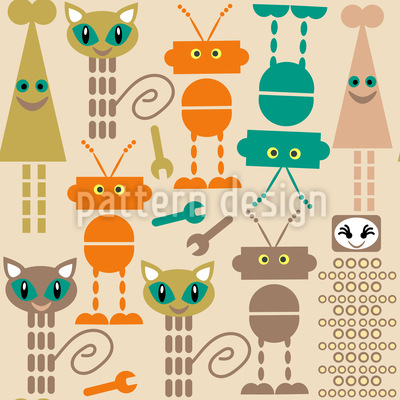 Robots And Cats Seamless Vector Pattern Design
