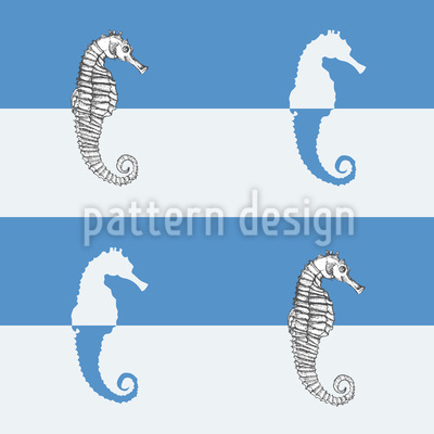 Seahorses On Blue Stripes Design Pattern