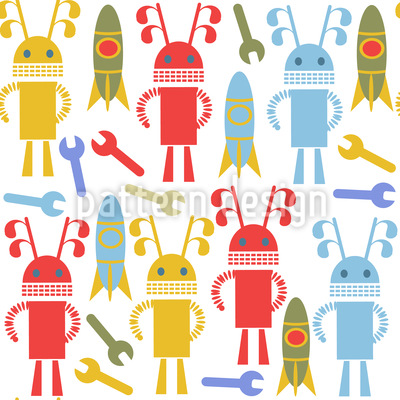 Robots and Rockets Seamless Pattern