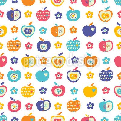 Äpfel und Blumen Rapportiertes Design