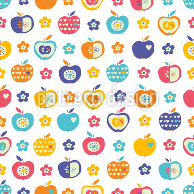 Apples and Flowers Repeating Pattern
