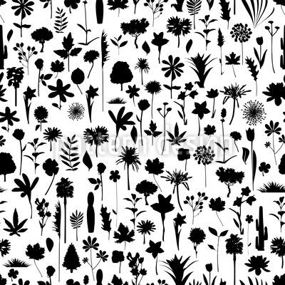 Viele Pflanzen Silhouetten Vektor Muster