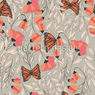 Monarch Summer Garden Seamless Vector Pattern Design