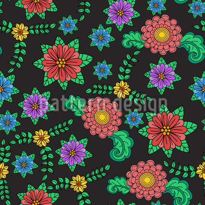 Summer Folklore Seamless Vector Pattern