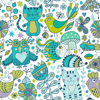 Doodle Animals Seamless Vector Pattern
