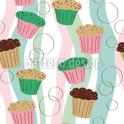 Colorful Muffins Seamless Vector Pattern Design