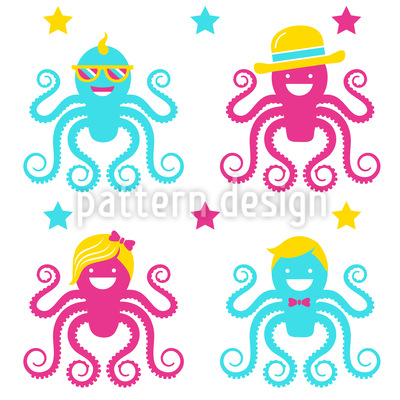 Funny Octopus Party Repeating Pattern