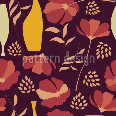 Poppies And Vases Mix Pattern Design