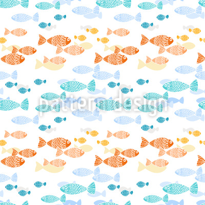 Crossing Fish Swarms Seamless Vector Pattern