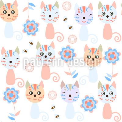 Katzen und Blumen Designmuster