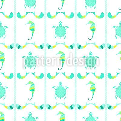 Schildkröten und Seepferdchen Nahtloses Vektormuster