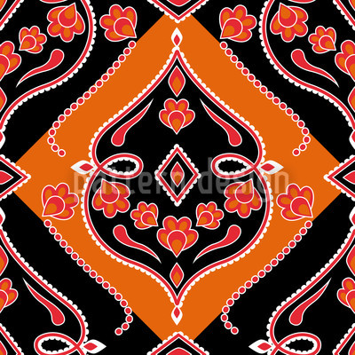 Folkloria Orange Seamless Vector Pattern Design