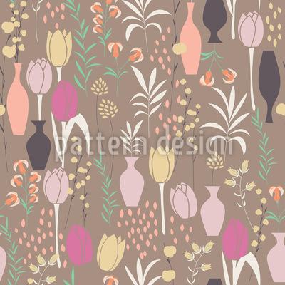 Frühlings Flora und Vasen Nahtloses Muster