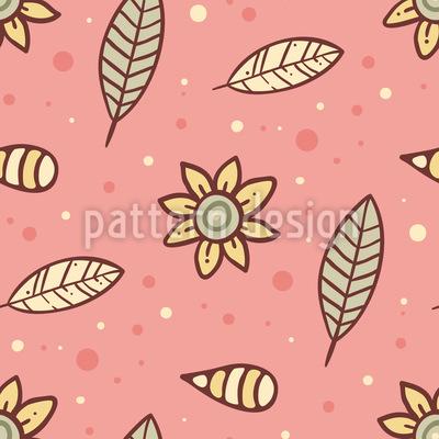 Sommernachts Blumen und Blätter Nahtloses Vektor Muster