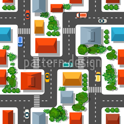 City View From Above Seamless Vector Pattern Design