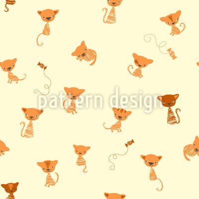 Lustige Kätzchen Nahtloses Vektormuster