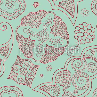 Floriental Blau Nahtloses Vektor Muster